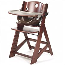 Keekaroo Height Right Highchair with Insert & Tray - Chocolate - Mahogany Base