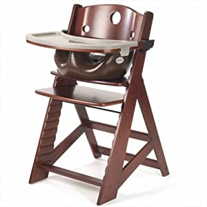 Keekaroo Height Right Highchair with Insert & Tray - Mahogany - Chocolate