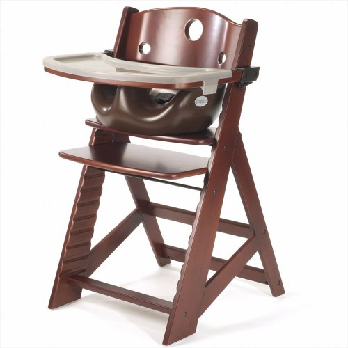Keekaroo Height Right Highchair with Insert & Tray - Chocolate - Mahogany - Mahogany Chair High