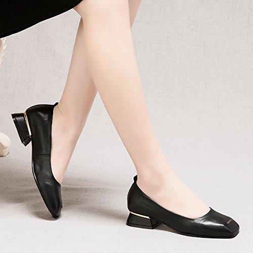GTVERNH Niedrige Sitz Platz Einzelne Schuhe Frühling Neuer Stil Stil Stil Harte Sohle Damenschuhe Niedrige Schuhe Flache Schuhe. schwarz d6b5c1