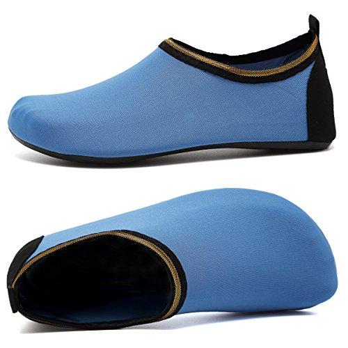 VIFUUR Wassersport Schuhe Barfuß Quick-Dry Aqua Yoga Socken Slip-On für Männer Frauen Kinder Soidblau