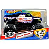 """Hot Wheels Monster Jam 1:24 Scale Die Cast Metal Body Official Monster Truck 2011 Series #T8526 - John Zimmer's AMSOIL SHOCK THERAPY with Monster Tires, Working Suspension and 4 Wheel Steering (Dimension : 7"""" L x 5-1/2"""" W x 4-1/2"""" H)"""