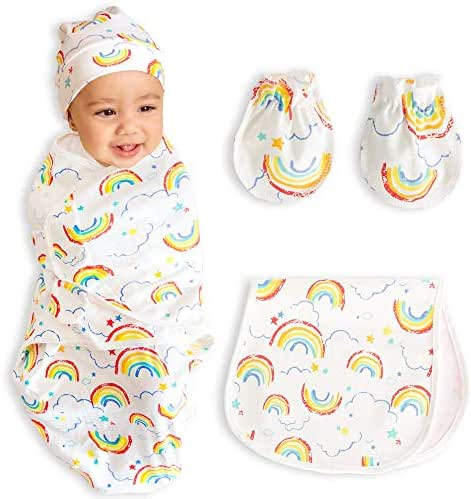 bozdy SwaddleMe Blanket Baby Swaddle Blanket Wrap Set-Infant Sleep Sack Adjustable Wings Soft Cotton Baby Sleeping Bag Rainbow Pattern with Hat Baby Bib for Drooling Teething Newborn Mittens for Boys