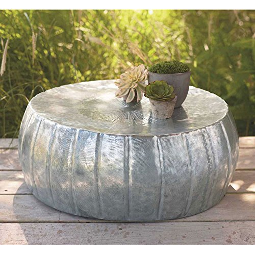 Silver Finished Hammered Drum Coffee Table (Silver Drum Table)