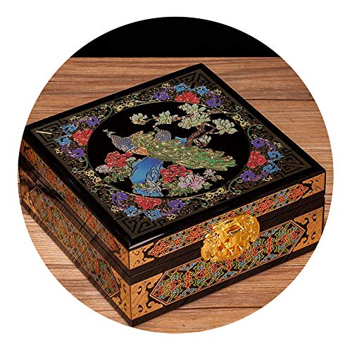 HAIHF Oriental Wood Jewelry Box/Case/Storage,Mother of Pearl Inlay Art Peony Flower Bird Design Asian Lacquer Wooden Jewellery Trinket Keepsake Treasure Gift