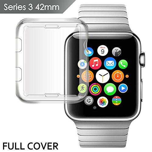 IOVECT Apple Watch 3 Case [42mm], iwatch Screen Protector CYJ20 TPU All-Around 0.3 MM High Transparency Full Cover For 2017 New Apple Watch Series 3