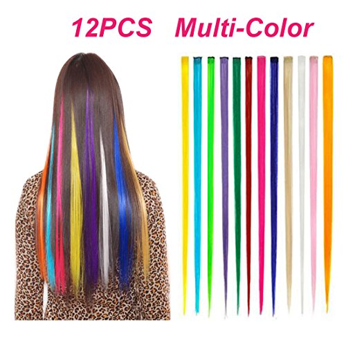 BeautySum Rainbow Hair Extensions Clip in for Girls Ombre Long Colored Hair Extensions Clip in Girls Heat Resistant Multi Colored Synthetic Hair Extensions Colorful Pastel Straight