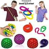 Set of 8 Stress Relief Sensory toys, 4 Strechy Strings Stretches from 10 Inches to 8 Feet! and 4 Mesh Squishy Balls,