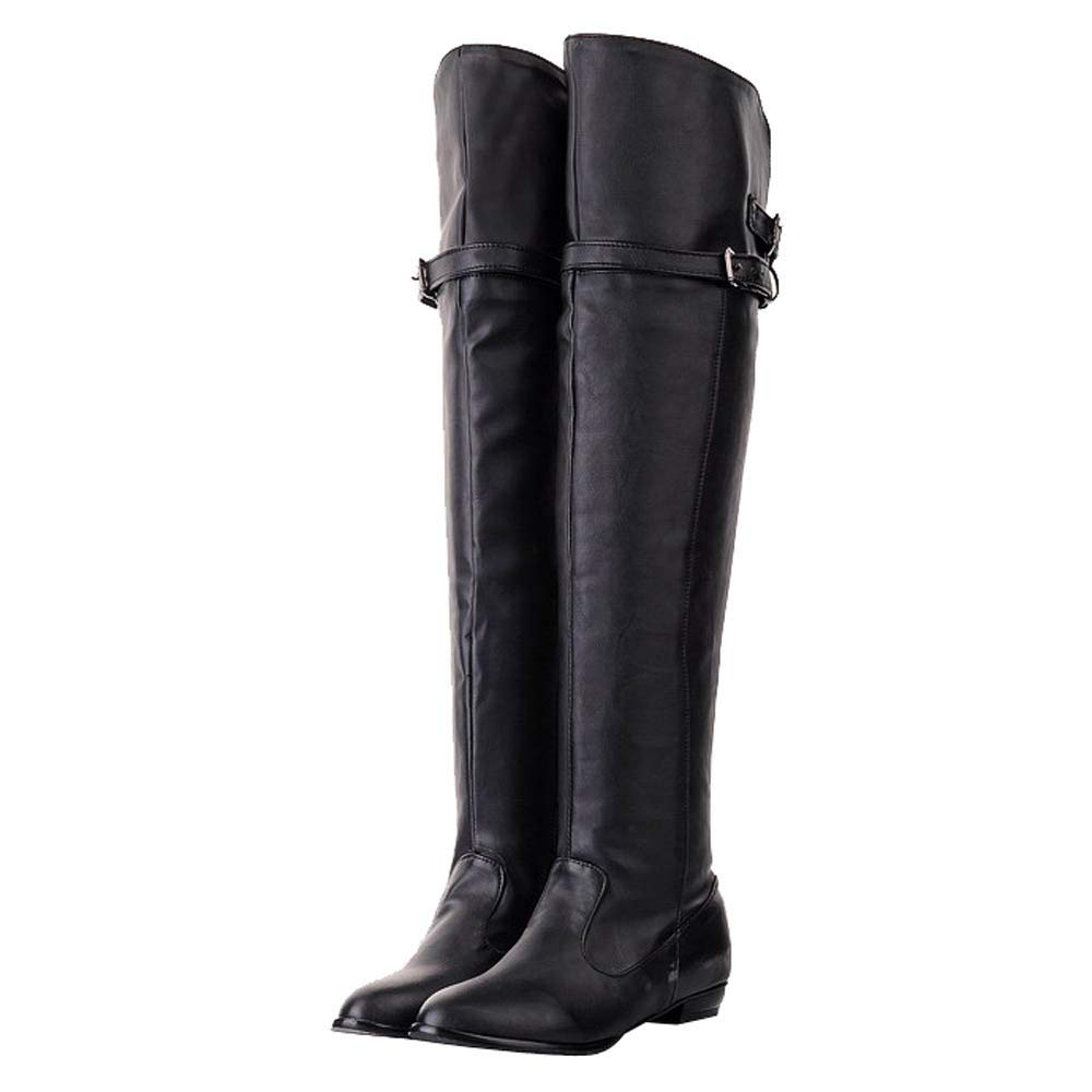 fce0a15cae0 HLHN Women Military Combat Boots Roman Knight Over Knee Buckle Leather Flat  Martin Shoes Steampunk Vintage Casual Winter  Amazon.co.uk  Shoes   Bags