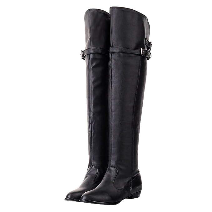 New Women Platform Block Heel Over The Knee Knight Boot pu leather shoe Plus sz