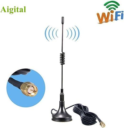 SMA Base Magnética Antenna 10dBi Alta Ganancia 4G LTE, Amplificador de Antena gsm WiFi Receptor de Adaptador de Red Antena SMA de Largo Alcance con ...