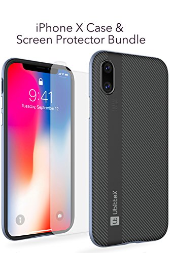 iPhone X Case with Tempered Glass Screen Protector, Ubittek Flexible Inner Protection and Reinforced Hard Bumper Frame Case with [9H Hardness 2.5D] [Tempered Glass] Screen Protector(Grey)