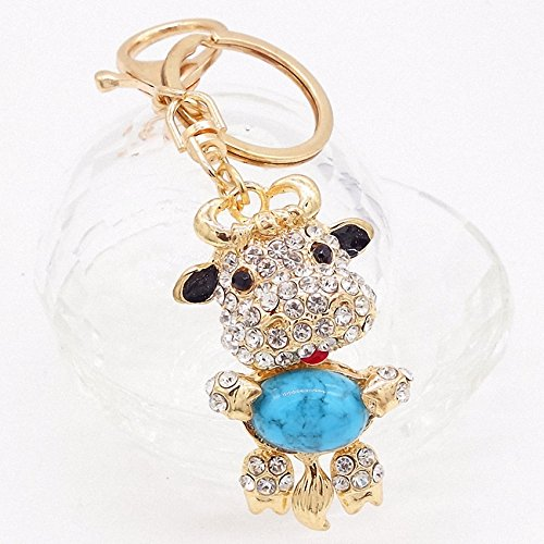 New Cow Keychains Crystal Key Ring Key Chains for Christmas Gift Jewelry Llaveros Pendant