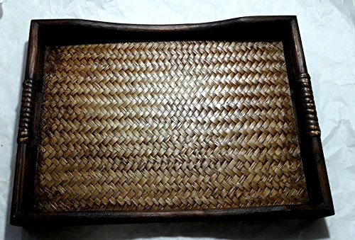 MANGO WOOD BAMBOO WOVEN TRAY SERVING SPA SUPPLIES THAI HANDCRAFT SIZE 9