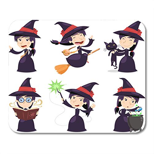 Emvency Mouse Pads Halloween Costume Witch with Wearing Black Dress with Cat with Magic Wand Pot Cartoon Characters Broom Mouse Pad 9.5