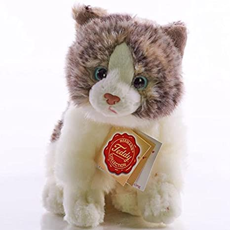 Amazon.com: Hermann Teddy Collection 906728 23 cm Grey Cat Sitting Plush Toy: Toys & Games
