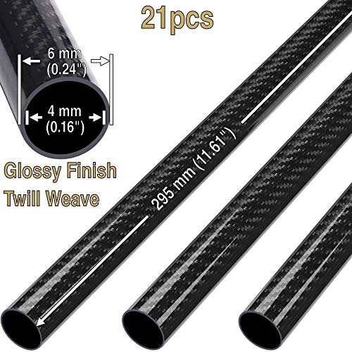 21(pcs) ComeTrue 6mm x 4mm x 295mm Length Glossy Twill Weave 3K Carbon Fiber Roll Wrapped Tube Pipe (Approx. 0.24
