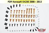 VITCIK Full Fairings Bolt Screw Kits for Kawasaki EX250R Ninja 250 EX-250R ZX250R 2008 2009 2010 2011 2012 Motorcycle Fastener CNC Aluminium Clips (Orange & Silver)