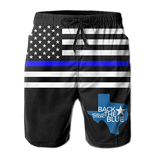 PerfectQun Men's Swim Trunks Back The Blue Dallas Strong Quick Dry Beach Board - Dallas Swimsuits