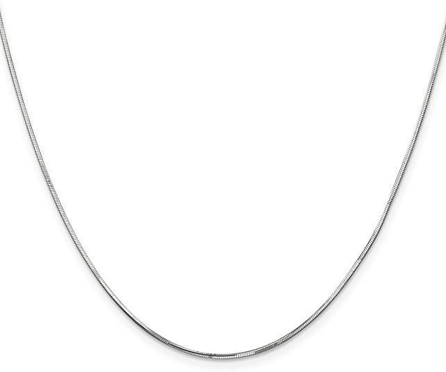 Brilliant Bijou 14k White Gold 1.00mm Octagonal Snake Chain Necklace 9 inches