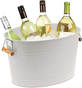 mDesign Metal Beverage Tub & Soda Pop, Beer, Wine, Ice Holder - Portable Party Drink Chiller - 18 Liter Container - Rustic Vintage Farmhouse Oval Storage Bucket Bin - Light Gray/Natural Wood Handles