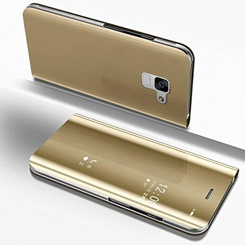 Galaxy A8 2018 Spiegel Hülle,Samsung Galaxy A8 2018 Hülle Leder [Rosegold] Schutzhülle Tasche,Artfeel Stilvoll Slim Dünn Überzug Hard Flip Stoßfest Handyhülle mit Built-in Standfunktion Make Up Spiege Golden