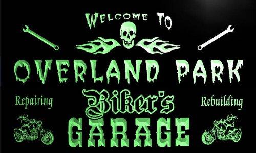 - qu2186-g Overland Park Biker's Garage Motorcycle Repair Beer Neon Bar Sign