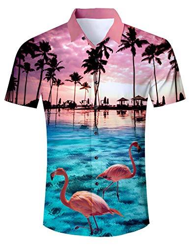Fanient Teen Boys Fashion Palm Tree Flamingos Hawaiian Shirt Sleeves Button Down Shirts for Men