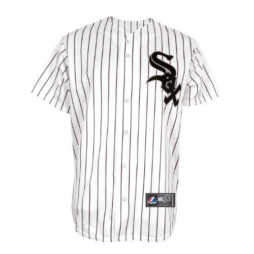 MLB Men's Chicago White Sox Jake Peavy White/Black Pinstripe Home Short Sleeve 6 Button Synthetic Replica Baseball Jersey  (White/Black Pinstripe, X-Large)