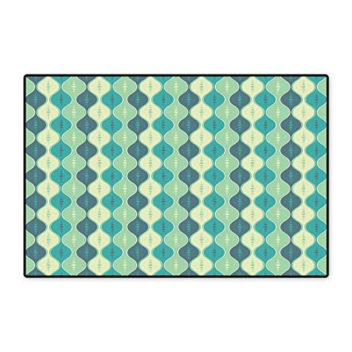 - Geometric Door Mat Small Rug Retro Pattern Dotted Design Oval Abstract Shapes Symmetrical Bath Mat for Bathroom Mat 16