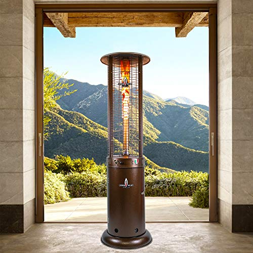 Opus Lite R-Line 7 Foot Natural Gas Commercial Flame Tower Heater, Manual Ignition, Heritage Bronze Finish
