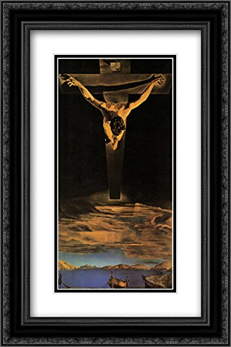 Christ of St. John of The Cross, c.1951 2X Matted 15x18 Black Ornate Framed Art Print by Salvador Dali