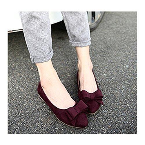 Sandalias para Mujer, OCHENTA Zapatos cómodos del trabajo de las mujeres de los planos #888-9Vino Rojo