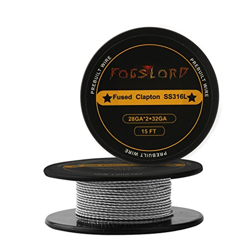 FogsLord Fused Clapton Wire SS316L Heat Resistance Wire Spool Braided Electronic Coil 15 ft. AWG 28GAx2+32GA by FogsLord (Image #3)
