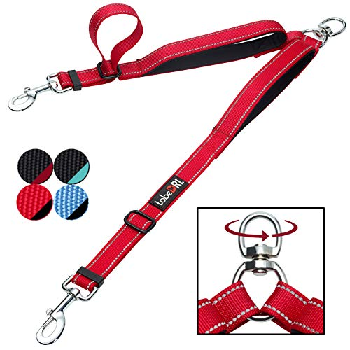tobeDRI Double Dog Leash Coupler - 2 Padded Handles, Adjustable from 18 to 24 Inch - Heavy Duty Dual Dog Leash for 2 Dogs for Medium Large Dogs (Red) -