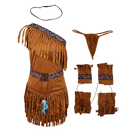 Bachelorette Mujeres Disfraces Sharplace Americapocahontas Traje de Borla Gamuza Fiestas de Princesa Nativo Traje caqui Noche Indio dPq6w