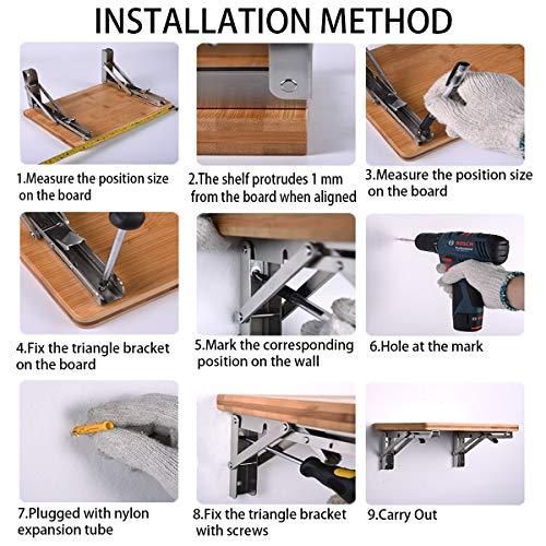 6PCS Folding Shelf Bracket-Heavy Duty Bench Table Wall Mount Bracket 550lb//250kg