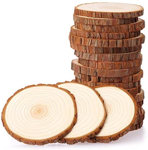 Fuyit Natural Wood Slices 20 Pcs 3.5-4 Inches Unfinished Wood Craft Kit Undrilled Wooden Circles Without Hole Tree Slice with Bark for Arts Painting Christmas Ornaments DIY Crafts