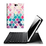 Fintie Keyboard Case for Samsung Galaxy Tab A 10.1 (NO S Pen Version), Smart Slim Shell Light Weight Stand Cover with Magnetically Detachable Wireless Bluetooth Keyboard for Tab A 10.1, Moroccan Love