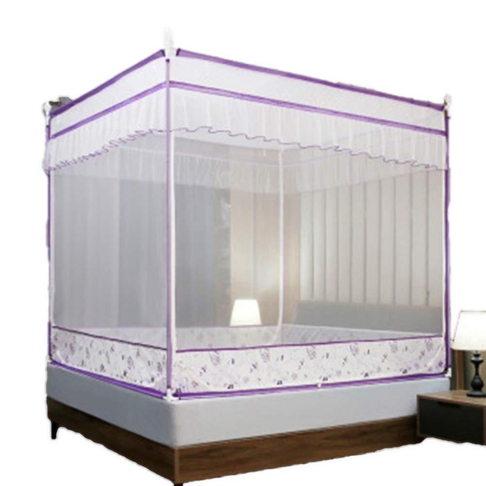 ベッドカーテン家庭用カーテンスクエアトップカーテン1.5 / 1.8mのベッドが適していますステンレス鋼チューブブラケット抗蚊に刺された厚い暗号化ベッドカーテン GMING (色 : 緑, サイズ さいず : 180*220cm bed) B07R4W4V2Y 紫の 180*220cm bed 180*220cm bed|紫の