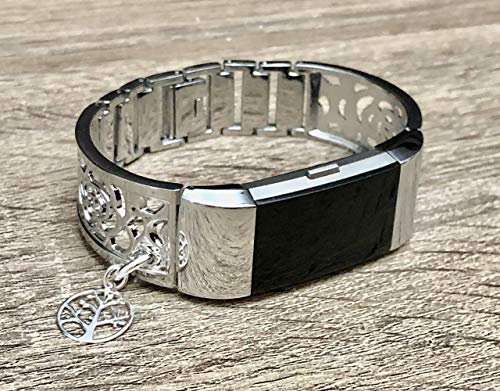 Silver Color Bracelet For Fitbit Charge 2 Fitness Tracker Handmade Jewelry for Fitbit Charge 2 Band Shiny Silver Bangle 925 Sterling Silver Tree of Life Pendant Adjustable Size Bracelet