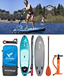 11' Inflatable SUP Stand Up Paddle Board with Motion Camera Base (6' Thick, 33' Wide) Beginner's Kit,Adj Aluminium Floating Paddle, Pump, ISUP Travel Backpack, Leash, Waterproof Bag Reusable