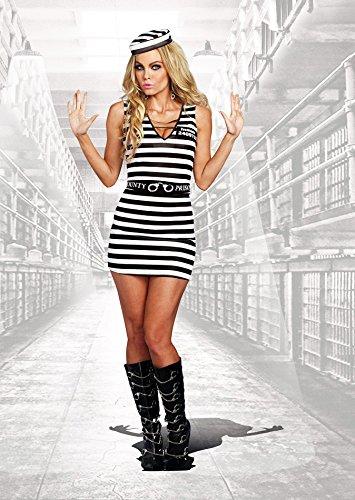 Female Jailbird Costume (Sexy Jailbird Prison Stripes Dress Convict Prisoner Inmate Costume Adult Women)