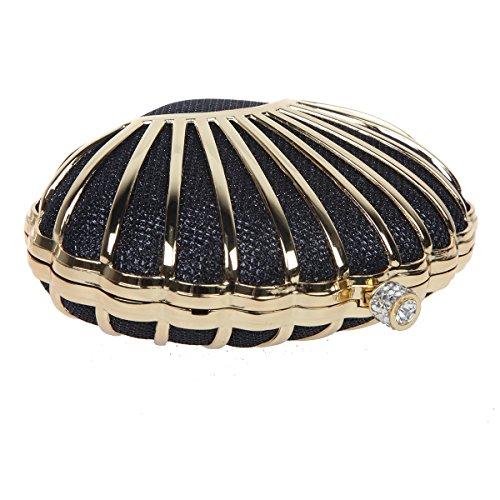 Black for Mini Evening for Seashell Bonjanvye Party Lovely Wedding Girls Purses Clutch Handbags 4H61aqwxn