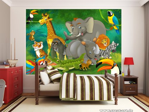 Poster jungle animals wall picture decoration jungle for Decoration xxl