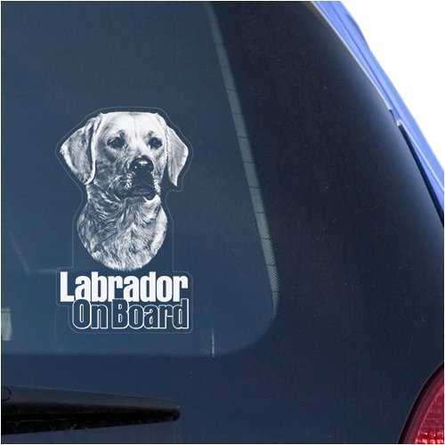 Labrador Retriever Clear Vinyl Decal Sticker Portrait for Window, Lab Dog Sign Art (4' Labrador Retriever)