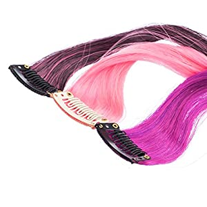 SWACC 12 Pcs Ombre Colored Party Highlights Clip on in Hair Extensions Multi-Colors Hair Streak Synthetic Hairpieces (12 Colors in Set -Curly)