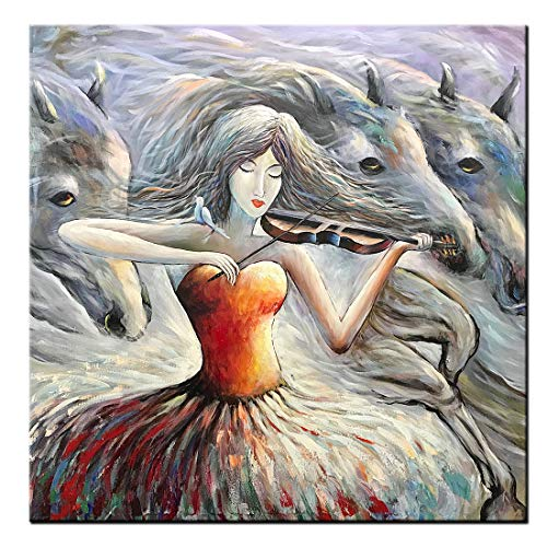 Desihum-Violin Girl Oil Paintings on Canvas Red Gray Modern Abstract Horse Artwork 3D Wall Art Ready to Hang for Living Room Violinist Wall Decor Home Decoration (40