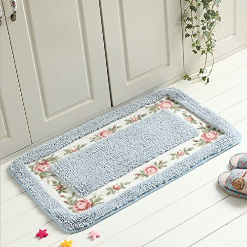 Amazon Com Ukeler Luxury Floral Rose Bath Rugs Non Slip Microfiber Absorbent Bath Mats Bathroom Floor Rugs 17 7 X29 5 Blue Home Kitchen