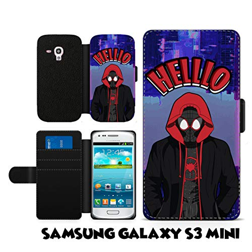 Spiderman Spiderverse Inspired Phone case Spiderman Miles Morales Hello Fan Art Faux Leather flip Wallet Mobile Cover for Samsung Galaxy S3 - Spiderman S3 Samsung Case Galaxy